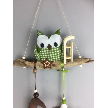 Suspension hibou vert Noël