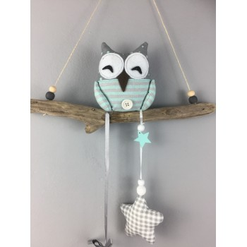 Suspension hibou gris et...