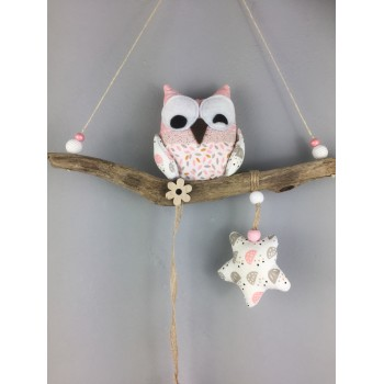 Suspension hibou rose