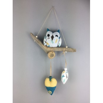 Suspension hibou turquoise