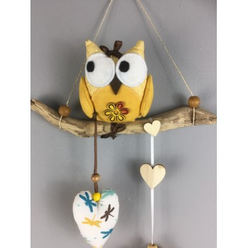 Suspension hibou jaune