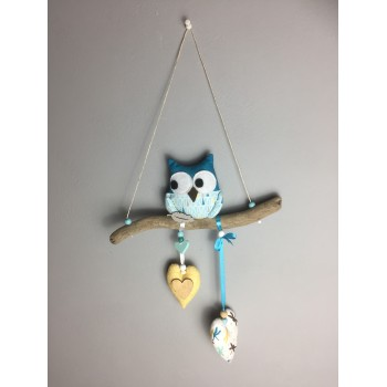 Suspension hibou bleu