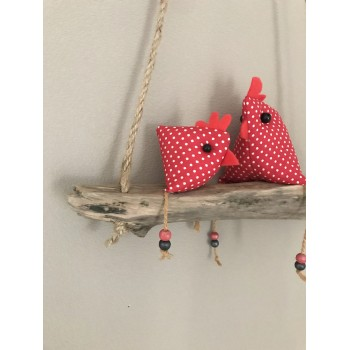Suspension poules rouges