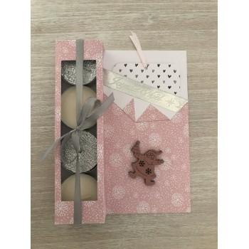 Carte cadeau grise et rose