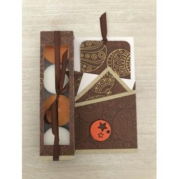 Carte cadeau brune et orange