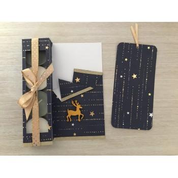 Carte cadeau bleue et dorée
